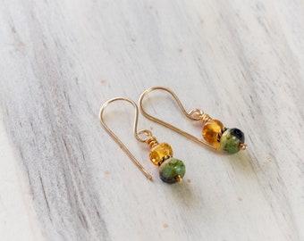 Amber and Green Glass Earrings