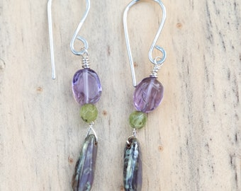 Amethyst, Citrine and Glass Dangle Earring No. 2