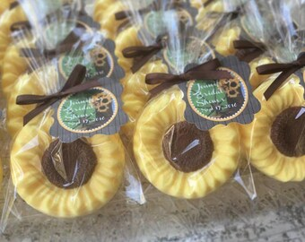 40 sunflower soap favors sunflower bridal shower favors sun flower baby shower rustic wedding favors seed party personalized soaps