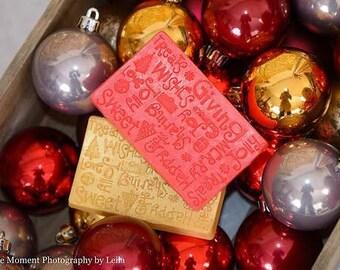 10 CHRISTMAS SOAP BARS - Stocking Stuffer, Holiday Soap, Christmas Gift, Co-Worker Gift, Teacher, Handmade Soap, Winter Party, Gift Exchange