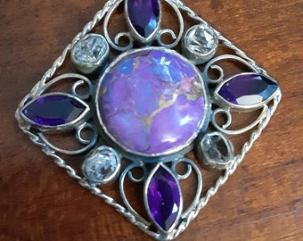 Purple turquoise and amethyst sterling silver pendant