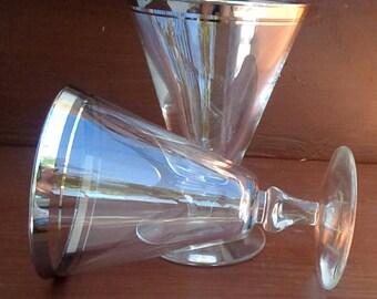 Vintage MCM Libbey Saturn Pattern, Platinum Trim, Water Goblet, Stemware, Barware, Glassware