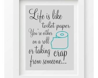 Funny Bathroom Print bathroom wall decor Funny quote shit ...