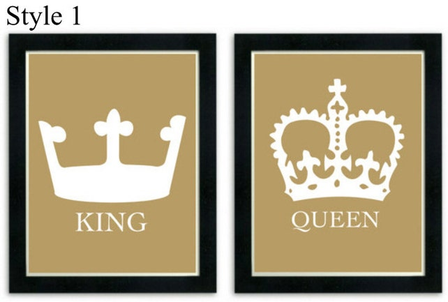 King and Queen Art Prints His and Her Crowns Modern Wall | Etsy