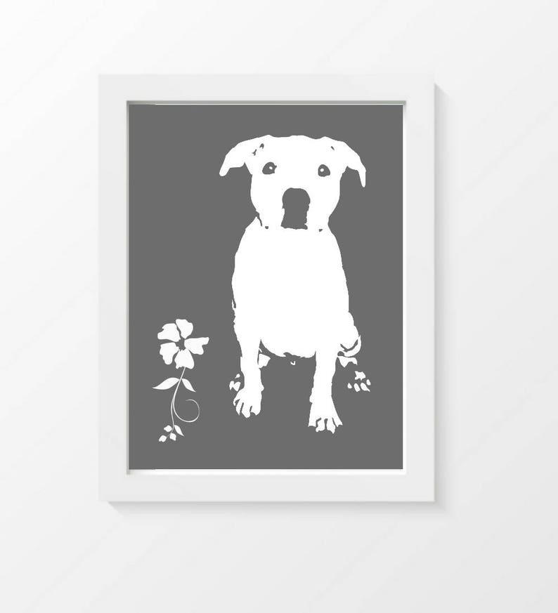b4024b2b3650 Modern Pitbull Dog Art Print Pitbull Silhouette Modern Wall