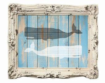 Moby Whale Art Print, Nautical Art Print, Whale Print, Beachhouse, wood grain, Barn Wood