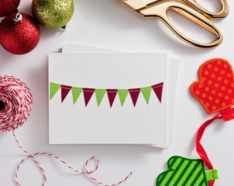 Christmas Cards Holiday Card Pack Bunting Flag Card Blank Holiday Cards Red and Green Stationery Teacher Gifts Under 10