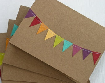 Wedding Thank You Cards, Colorful Stationery, Bunting Flag Stationary, Rainbow Party Invitations, Birthday Cards, Kraft Paper Greeting Card