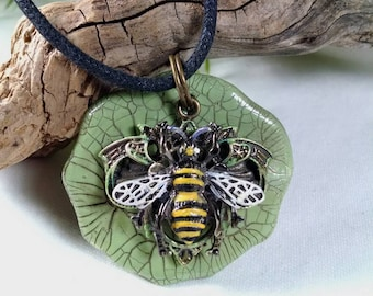 Bee Pendant, Metal Bee Pendant,  Polymer Clay Crackled Pendant, Green andYellow, Painted Bee, Bee Lover, Black Cord, Mixed Media