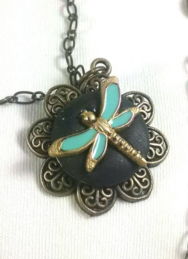 Turquoise stone Antique gold bronze dragonfly necklace Long dragonfly necklace Turquoise dragonfly Dragonfly pendant necklace