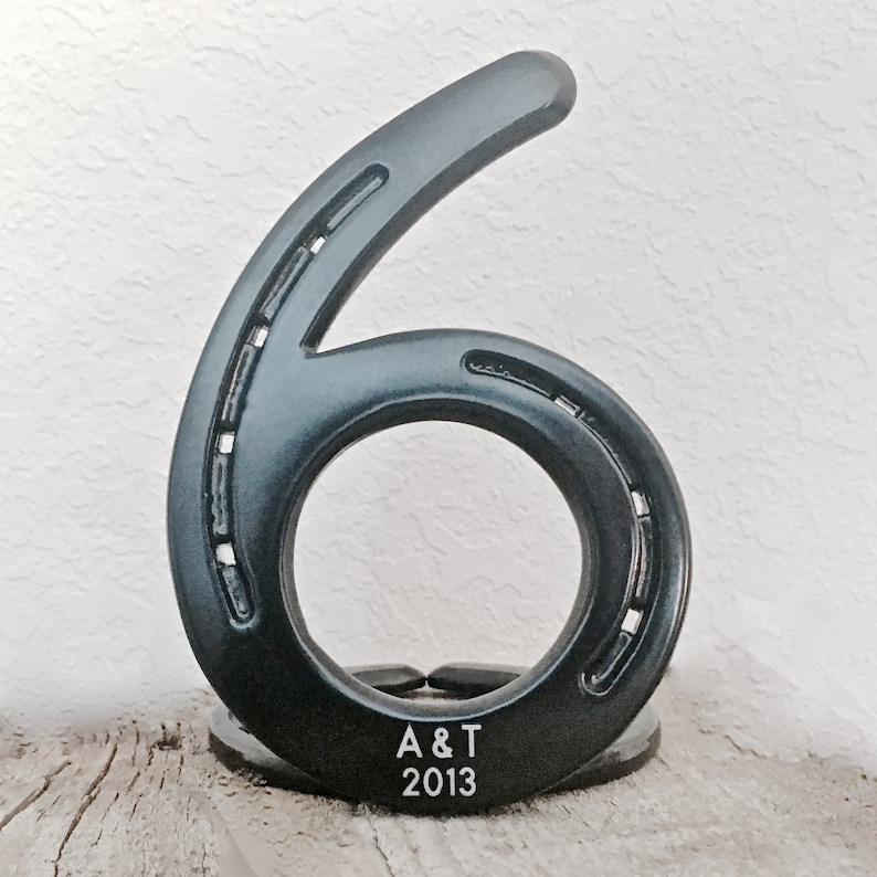 fd8b47d4 HORSESHOE number 6, 6th anniversary gift, IN STOCK, standing, engraving  included. Traditional iron gift
