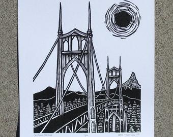 St. Johns Bridge (Original Hand-pulled Screen Print)