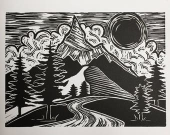 Boy Scout Ridge, 2017 (Original Hand-pulled Linocut)