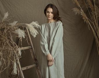 Linen Gown MARIA with Drawnwork on Front  / Flax Longsleeve Shirt Long/ Natural Nightwear Luxury/ Linen Sleepwear for Women