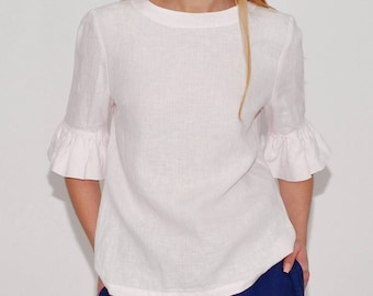 Linen  Blouse Fashionable/ Flax Blouse With Frill Sleeves/  Blouse Elegant/ Linen Shirt 3/4 Sleeves/  Top With Back Buttoned