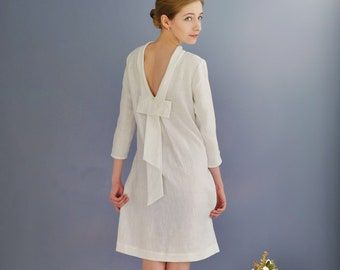 Linen Dress With Open Back/Linen Elegant Dress/ Linen Dress Midi/ Dress With Bow At Back/ Eco Friendly Dress/ Wedding Dress/