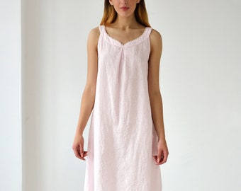 Linen Gown Sleeveless Laced/Linen Night Dress Stone Washed/ Luxury Sleepwear/ Flax nightwear/ Linen Underwear/ Linen Shirt/ Linen Tank
