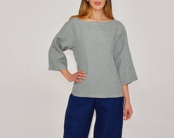 Linen Blouse/Linen Top Boatneck and 3/4 Sleeves/ Top Basic /  Linen Blouse in Blueish-grey/Simple Blouse/ Linen Shirt