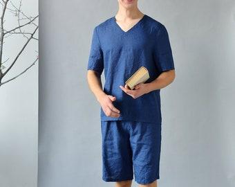 be6a5cdfd655 Leinen-Pyjama Set Mens dunkelblau   Shorts und Top Kurzarm   Flachs Herren  Pyjama   reines Leinen Pyjama Set für Männer   einfache Nachtwäsche für  Männer