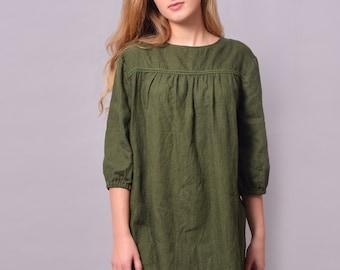 8dbb683ff9c Linen Dress - Tunic With Decorative Tape front And 3 4 Length Sleeves In  Dark Khaki Flax  Linen Dress Midi  Linen Tank Maternity Dress