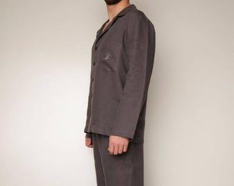 Linen Pajama Set For Men/ Classical Pajama Set For Men / Flax Men's Sleepwear/ Linen Loungwear Men's