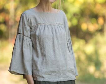 Linen Blouse BOHO Laced/ Natural Boho blouse/ Linen Oversize Top/ Linen Tank/ Hippie Blouse/ Linen Shirt 3/4 sleeves/