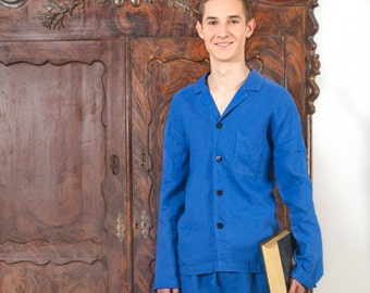 Linen Pajama Set For Men In Royal Blue Flax/ Luxury Linen