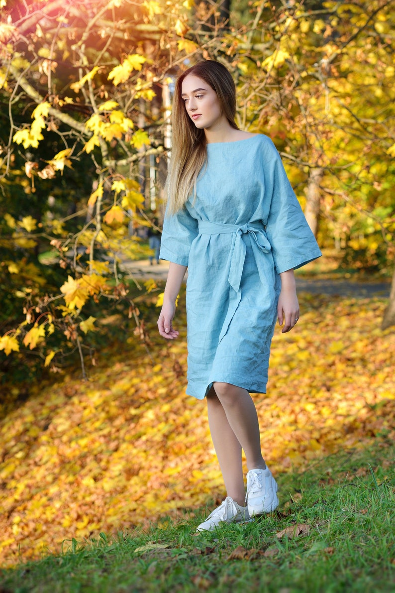 7978bd18770 Linen Dress Tunic With Boat Neck and 3 4 sleeves