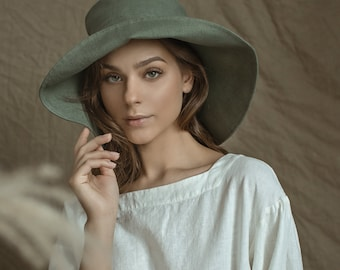 Linen Summer Hat  with Wide Brims / Sun Hat Eco Friendly in Flax/ Natural Head Cover
