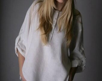 Oversized  Linen White Shirt for Woman/  Linen Blouse Long Sleeve/ Linen top/ Linen Shirt/ Linen Top/