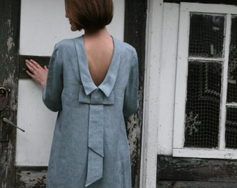 Linen Dress With Bow at Back/Linen Elegant Dress/ Linen Dress Midi/ Knee Length Dress With Open Back / Dress Eco Friendly