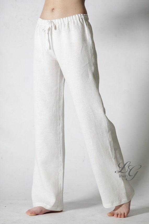 Iets Nieuws Linnen wit pyjama broek / gewoon klassiek linnen pyjama broek | Etsy @HK63
