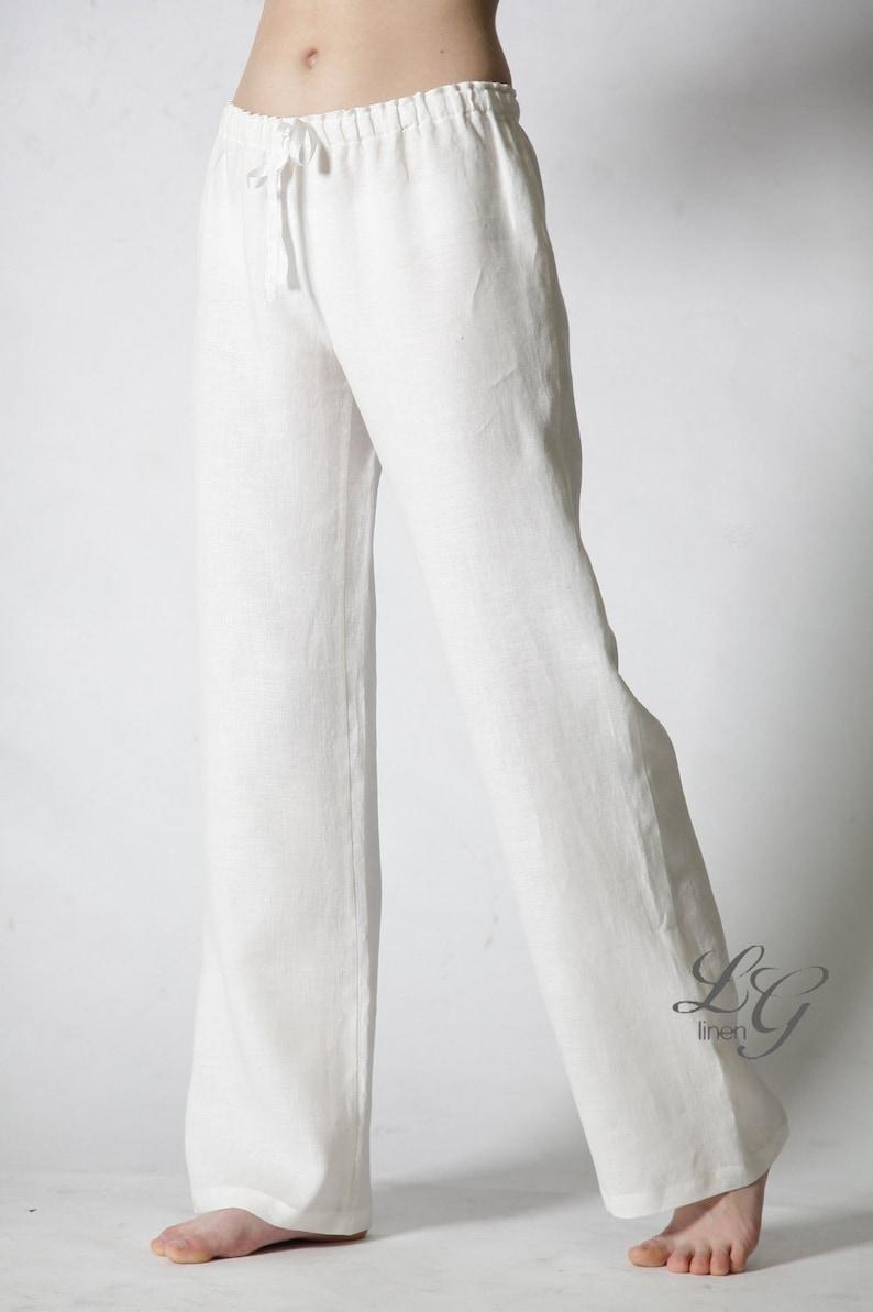 3a172885ed234 Lin blanc pyjama pyjama lin pantalon / juste classique | Etsy