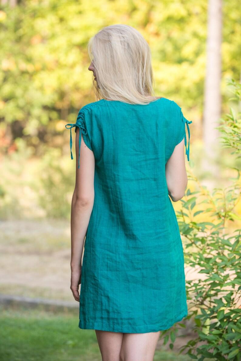 e38637d08a0 Linen Dress With Drawn-Stringed Shoulders  Short Linen