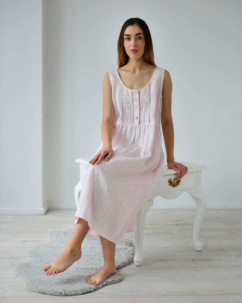 Vintage Nightgowns, Pajamas, Baby Dolls, Robes Linen Night Dress/ Vintage Inspired Hand Embroidered Linen Night Gown For Woman/ Linen Sleeveles Dress/ Linen sleepwear Women/ Flax Gown $129.00 AT vintagedancer.com
