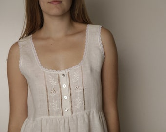 Linen White Gown RUTA/ Sleeveless Robe Linen/ Vintage Inspired Hand Embroidered Linen Night Wear For Woman/ Eco friendly Sleepwear