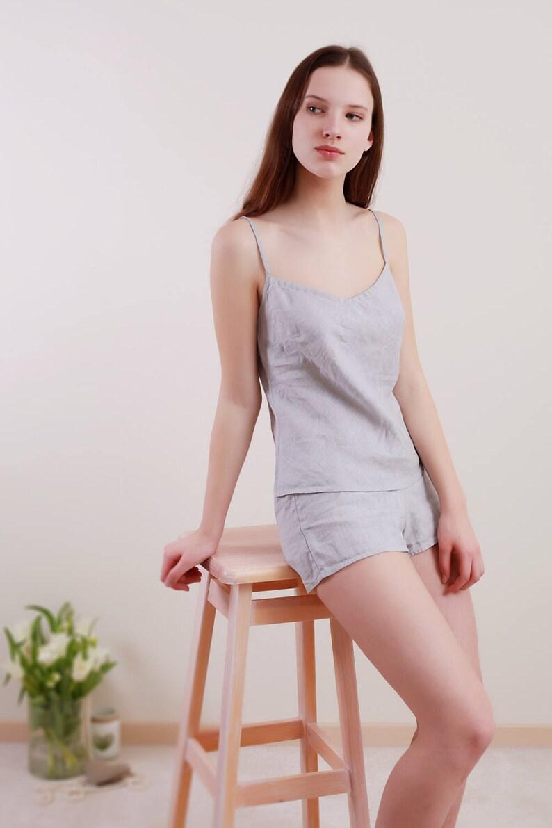 2964301622 Pure Linen Cami in Silver-Grey Linen/ Linen Underwear Eco/Linen Top/ Linen  Camisole/ Linen Night Top