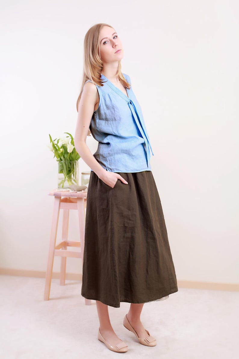 bfb9f2ae8a Linen Wide Skirt  Midi Linen skirt With Deep Side Pockets