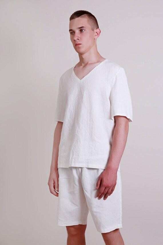 42c197adf9ce Leinen weiß Pyjama Set Herren   Shorts und Top Kurzarm     Etsy