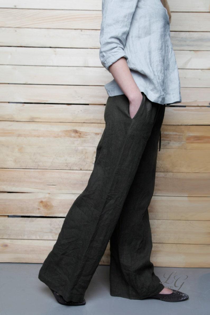 4bdc33b5c2 Linen Pants For Women/ Wide Linen Pants/ Flax Pants | Etsy