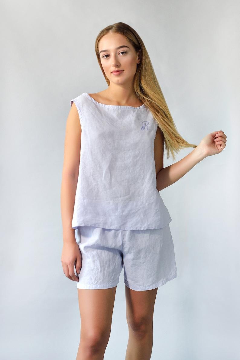 f7b0c0f1cc9da2 Linen Pajama Set Short For Women  Linen Swing Top and Shorts