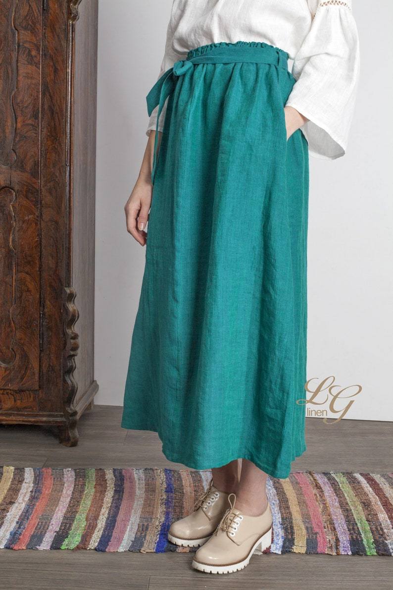 0a955b69f SAMPLE SALE Size S Linen Wide Boho Skirt in Emerald Green | Etsy
