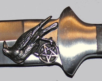 """9"""" Pentacle of the Raven Athame ~ Wiccan Pagan Ritual Tool"""