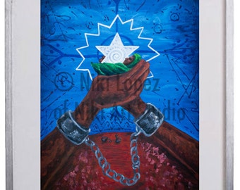 """Juneteenth archival print- 'Olokun'- 5""""x7"""" Archival limited edition framed print."""
