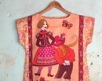 9cab29d083 Upcycled Linen Tea Towel Tunic Women Dancers Folksy Floral Daisy Retro  Medium Pink Yellow Apricot Cotton Australian Made