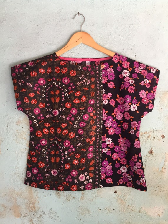 c8099416fe Upcycled Womens Shirt Top Blouse Vintage Linen Tea Towel Retro