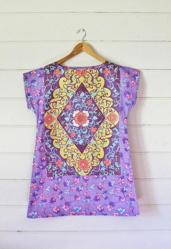 9e427c0d69 Upcycled Linen Tea Towel Tunic Women Dress Purple Pink Swirly