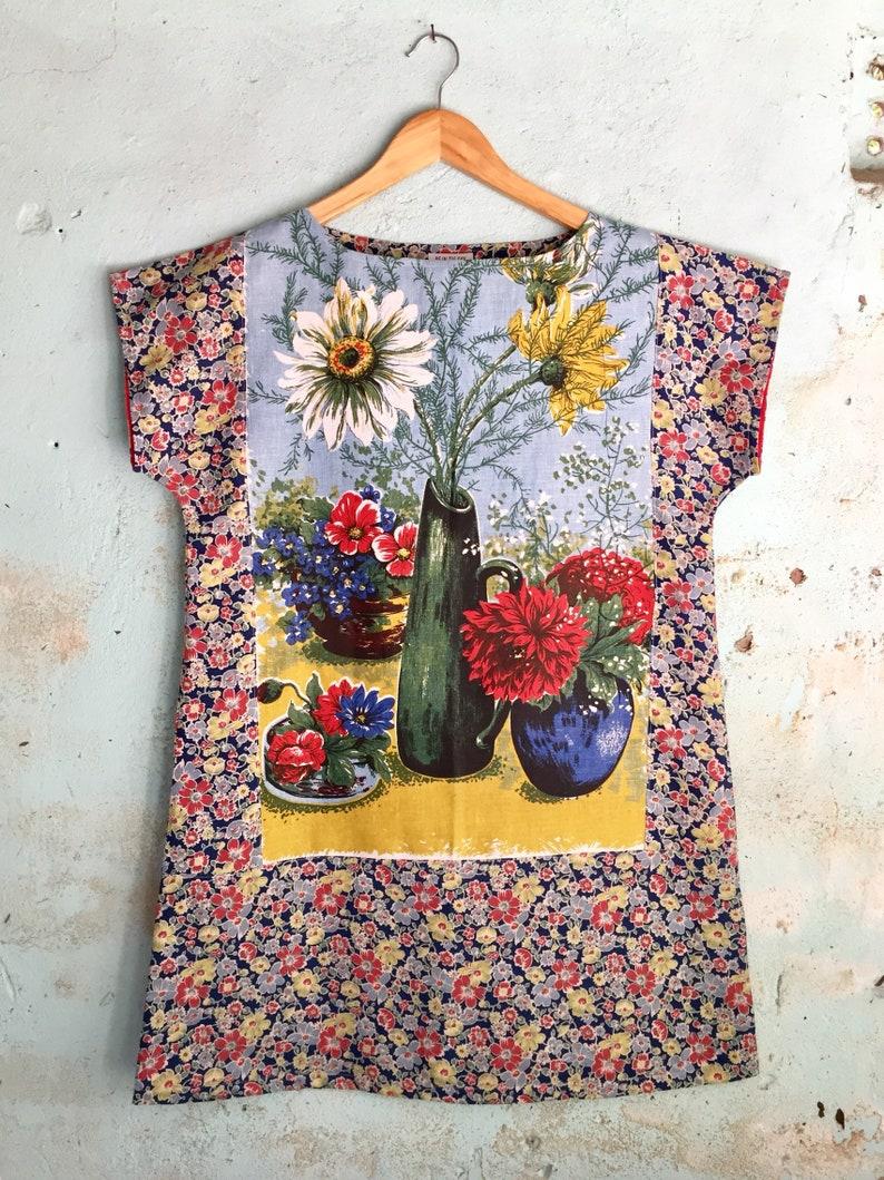 cd3b4345a0 Upcycled Linen Tea Towel Tunic Women Fifties Floral Daisy