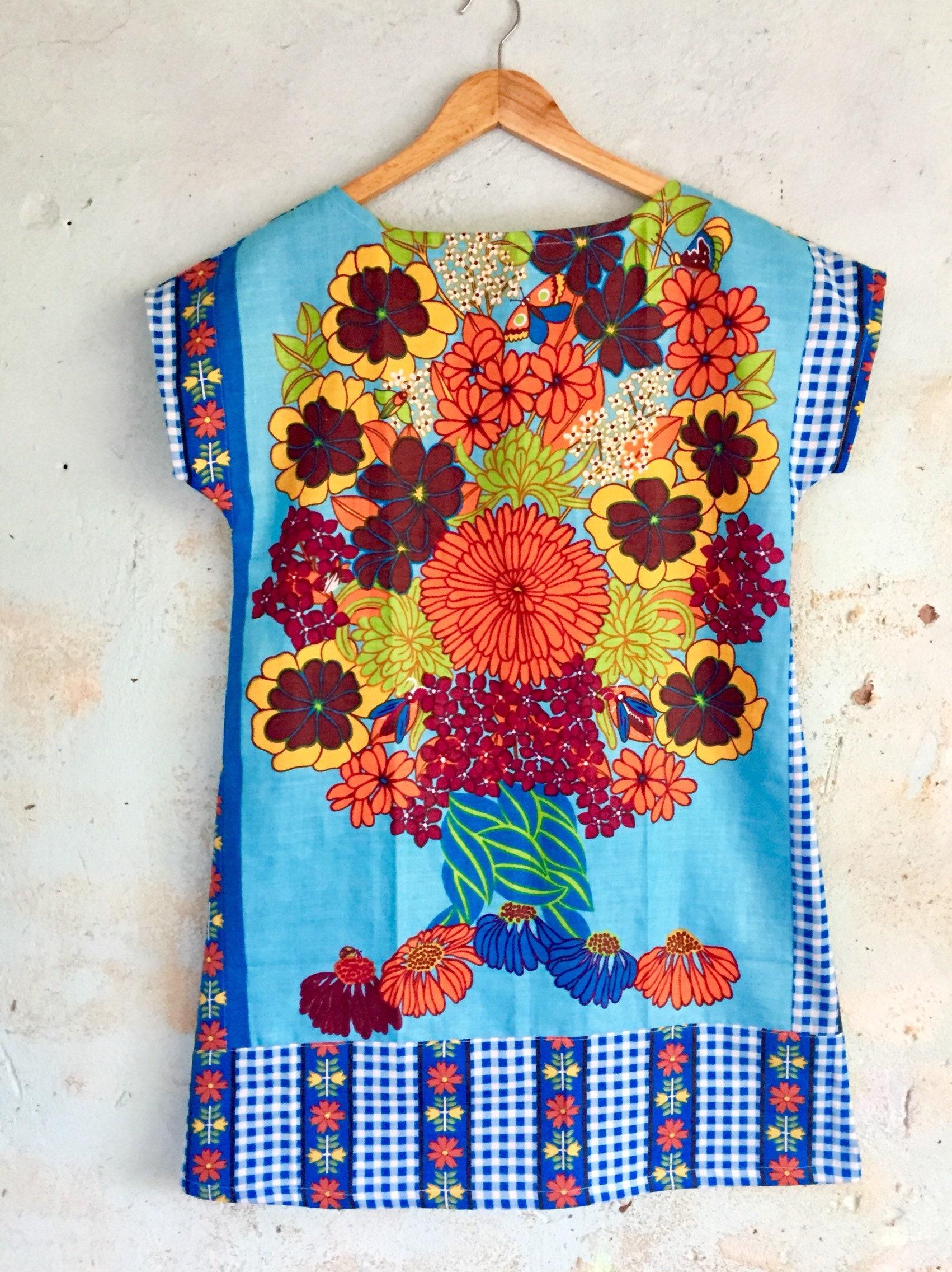 7f45cd07cd Upcycled Vintage Linen Tea Towel Tunic Dress XS Petite Womens