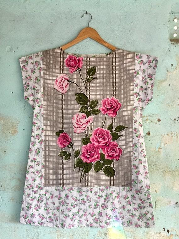 5f079532e3 Vintage Fabric Tunic Upcycled Linen Tea Towel Handmade Womens